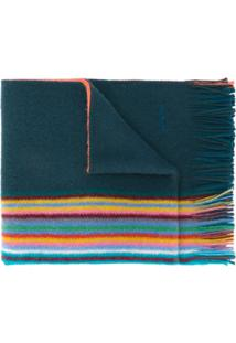Paul Smith Cachecol De Tricô Listrado - Azul