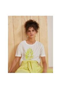 Amaro Feminino T-Shirt Oversized Folhagem, Off-White