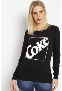 "Camiseta ""Coke""- Preta & Branca- Coca-Colacoca-Cola"