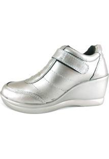 Tênis Sneaker Rr Shoes Metalizado Couro Prata