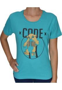 Camiseta Baby Look Code King Feminina - Feminino-Azul Turquesa