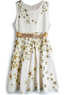 Vestido Milli & Nina Estrela Branco/Dourado