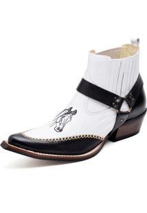 Bota Botina Em Couro Cabresto Detalhe Cavalo Cano Curto Gaspariano Calçados Branca