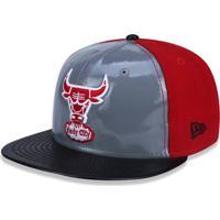 Boné New Era 5950 Chicago Bulls Aba Reta Cinza Vermelho fa5fb43ca4b