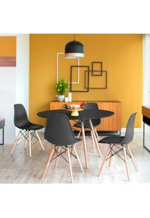 Conjunto De Mesa De Jantar Com 4 Cadeiras Eames Eiffel Preto