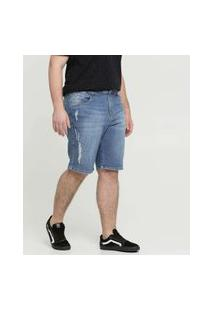 Bermuda Masculina Jeans Destroyed Plus Size Razon