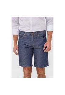 Bermuda Jeans Wrangler Reta Pespontos Azul
