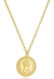 Colar Medalha Moeda Antiga Di Capri Semi Jóias X Ouro Dourado