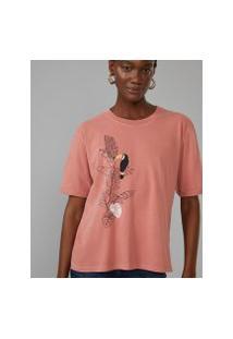 Amaro Feminino T-Shirt Oversized Folhagem Tucano, Terracota