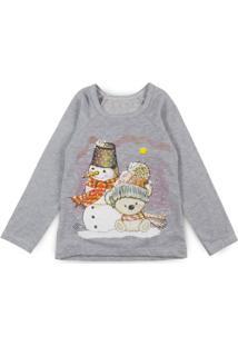 edeea78a1 Blusa Bebê Boneco De Neve Cinza - Deinha Fashion