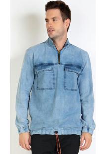 Casaco Anorak Jeans Com Elastico Na Cintura