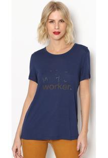 Camiseta ''Worker'' - Azul Marinho Dourada- Forumforum