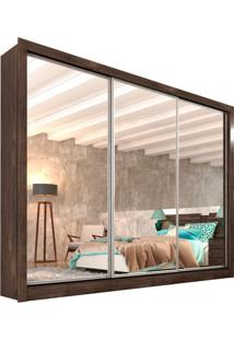 Guarda-Roupa Casal Com Espelho Siena Top 3 Pt Cumaru Rustic E Off White