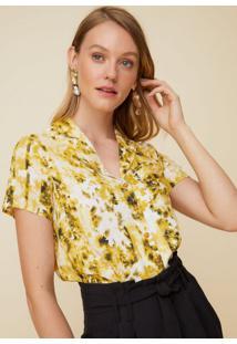 Amaro Feminino Camisa Manga Curta Com Bolso, Amarelo