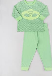 Pijama Infantil Lagartixo Pj Masks Estampado Manga Longa Verde