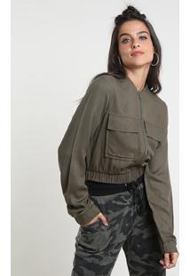 Jaqueta Bomber Feminina Cropped Com Bolsos Verde Militar