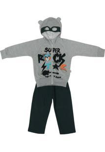 Conjunto Infantil Jaqueta Com Capuz E Calça De Moletom