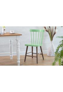 Cadeira De Madeira Para Sala De Jantar Folk Verniz Capuccino E Verde Sálvia 45X46X83Cm