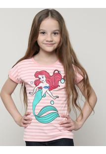Blusa Infantil Pequena Sereia Ariel Com Listras Manga Curta Rosa