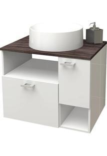 Gabinete Para Banheiro Em Mdf Iara 59,5 X 47,8Cm Branco E Dakota