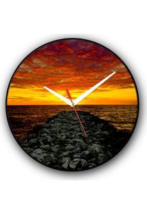 Relógio De Parede Colours Creative Photo Decor Decorativo, Criativo E Diferente - Mar Em Cartagena, Colômbia