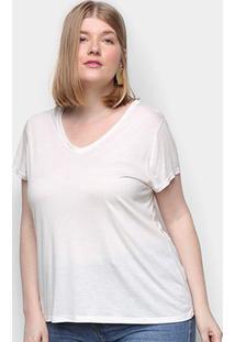 Camiseta Lecimar Gola V Manga Curta Feminina - Feminino-Off White