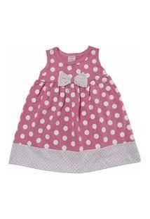Vestido Para Bebê Happy Baby Rosa De Bolinhas Brancas Com Laço 100 % Algodão