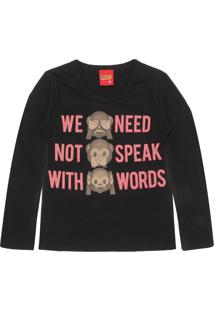 Camiseta Kyly Menina Lettering Preta