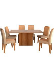 Conjunto De Mesa Com 6 Cadeiras Para Sala De Jantar 180X90 Ana/Tais-Cimol - Savana / Offwhite / Caramelo