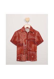 Camisa Infantil Estampada Paisley Manga Curta Vermelha