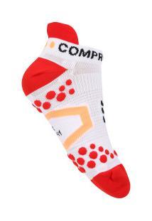 72caffe476 Meia De Compressão Compressport Run Low V2.1 - Masculina - Branco Vermelho