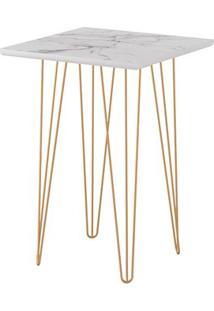 Mesa Lateral Quadrada 62 Carrara Pé De Ferro Dourado-Líder Design