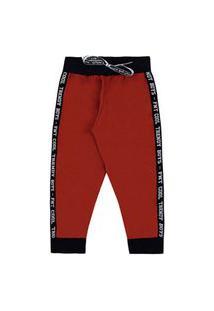 Calça Bebê Masculina Moletom Jogger Vermelha E Preta Com Punho (1/2/3) - Fantoni - Tamanho 2 - Vermelho,Preto
