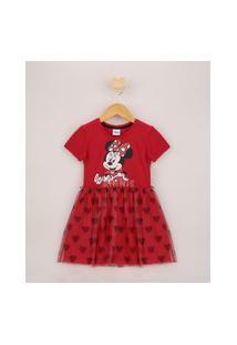 Vestido Infantil Minnie Com Tule Manga Curta Vermelho