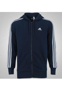 Jaqueta De Moletom Com Capuz Adidas Ess 3S Fz Hood - Masculina - Azul Escuro