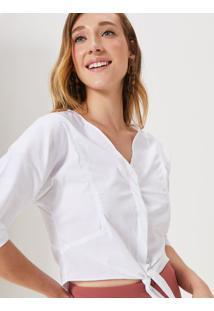 Amaro Feminino Camisa Algodão Amarração, Off-White