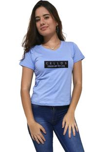 Camiseta Feminina Gola V Cellos To Life Premium Azul Claro - Kanui