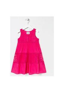 Vestido Infantil Com Renda E Tule - Tam 5 A 14 Anos | Fuzarka (5 A 14 Anos) | Rosa | 11-12