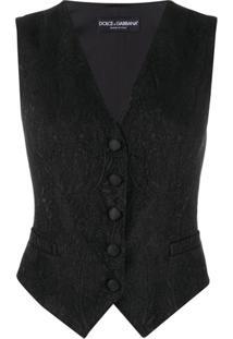 Dolce & Gabbana Colete Jacquard Com Abotoamento - Preto