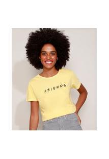 Camiseta Feminina Friends Manga Curta Decote Redondo Amarelo