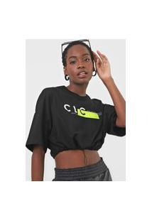 Camiseta Cropped Colcci Lettering Neon Preta