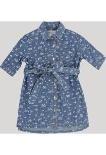 Vestido Chemise Jeans Infantil Estampado Floral Com Bolsos Manga Curta Azul Escuro