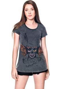 Camiseta Estonada Skull Chapeleiro Useliverpool Feminina - Feminino-Preto