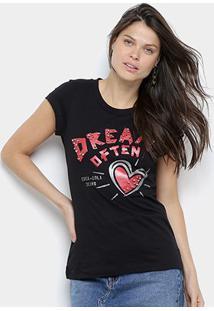 Camiseta Coca Cola Estampada C/ Apliques Manga Curta Feminina - Feminino-Preto