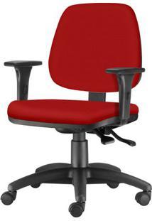 Cadeira Job Com Bracos Assento Crepe Vermelho Base Nylon Arcada - 54611 Sun House