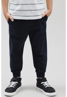 Calça De Sarja Infantil Jogger Com Cordão Azul Marinho
