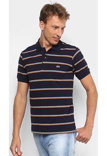 c8ef31d48df25 Camisa Polo Lacoste Listrada Masculina - Masculino-Marinho