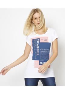 """Camiseta """"A Special Date""""- Branca & Azul Escuro- Coccoca-Cola"""