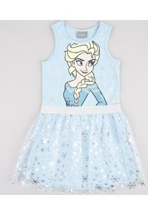 Vestido Infantil Carnaval Elsa Frozen Com Brilho E Tule Sem Manga Azul Claro