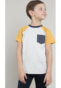 Camiseta Infantil Raglan Com Bolso Manga Curta Cinza